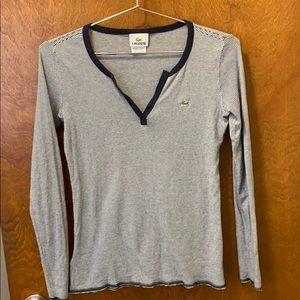 Lacoste v neck longe sleeves shirt size small